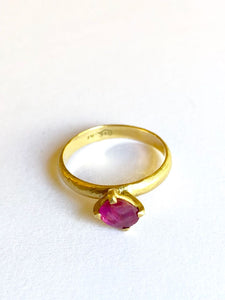 tRuby Ring Gold Plume Collection