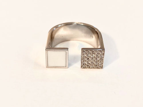White pinky ring with diamonds & enamel