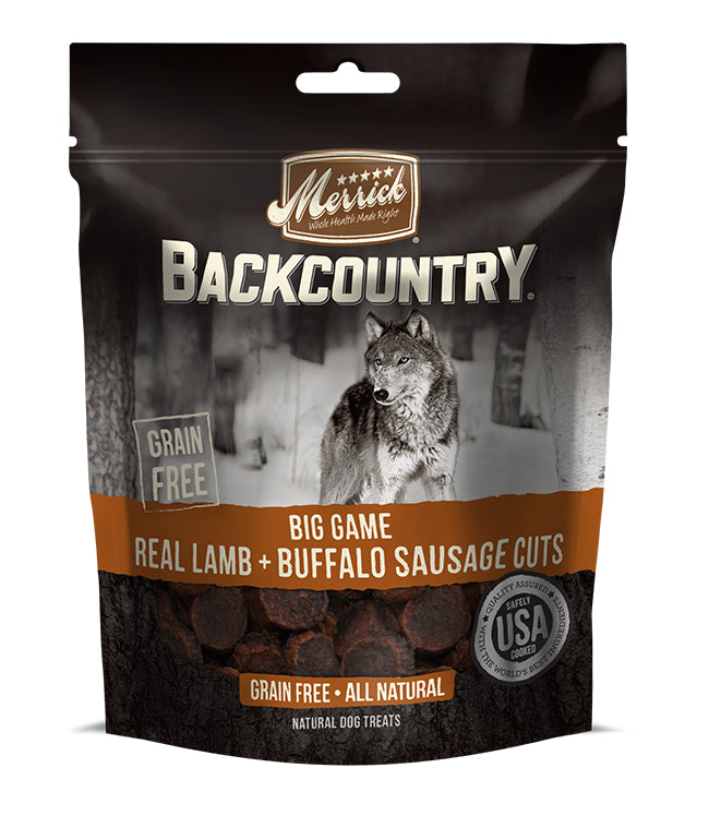 Merrick Backcountry Big Game Real Lamb and Buffalo Sausage Cuts 7OZ