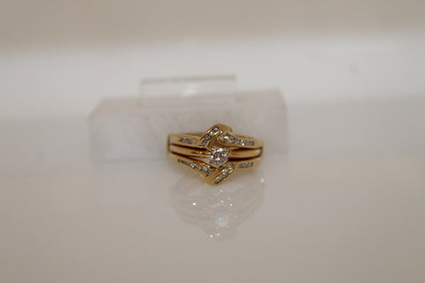 Diamond Engagement Solitaire Guard Set