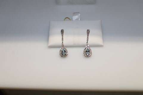 White Gold Aquamarine Pear Earrings