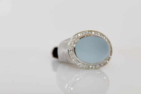 Blue Frosted Quartz Diamond Ring