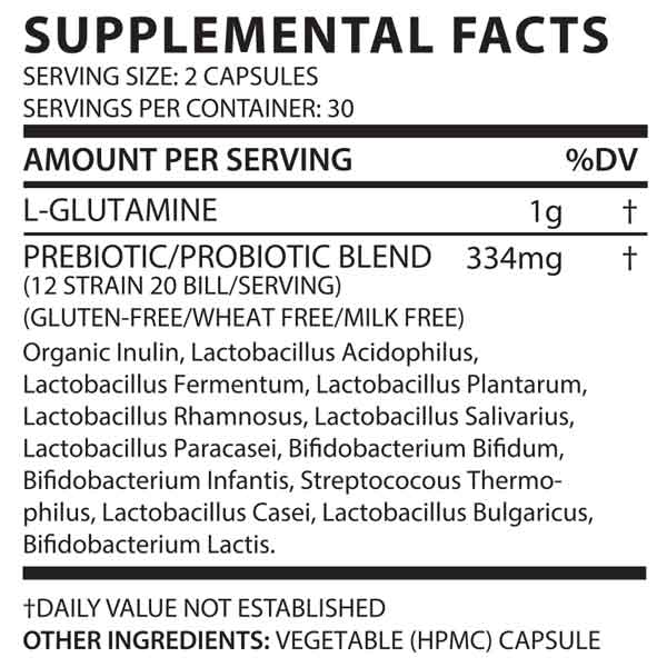 REBALANCE - PROBIOTIC PLUS GLUTAMINE INGREDIENTS
