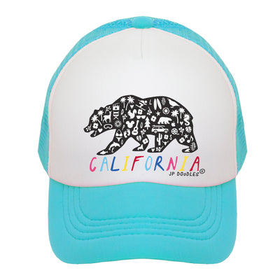 Rainbow California Bear Kids Trucker Hat
