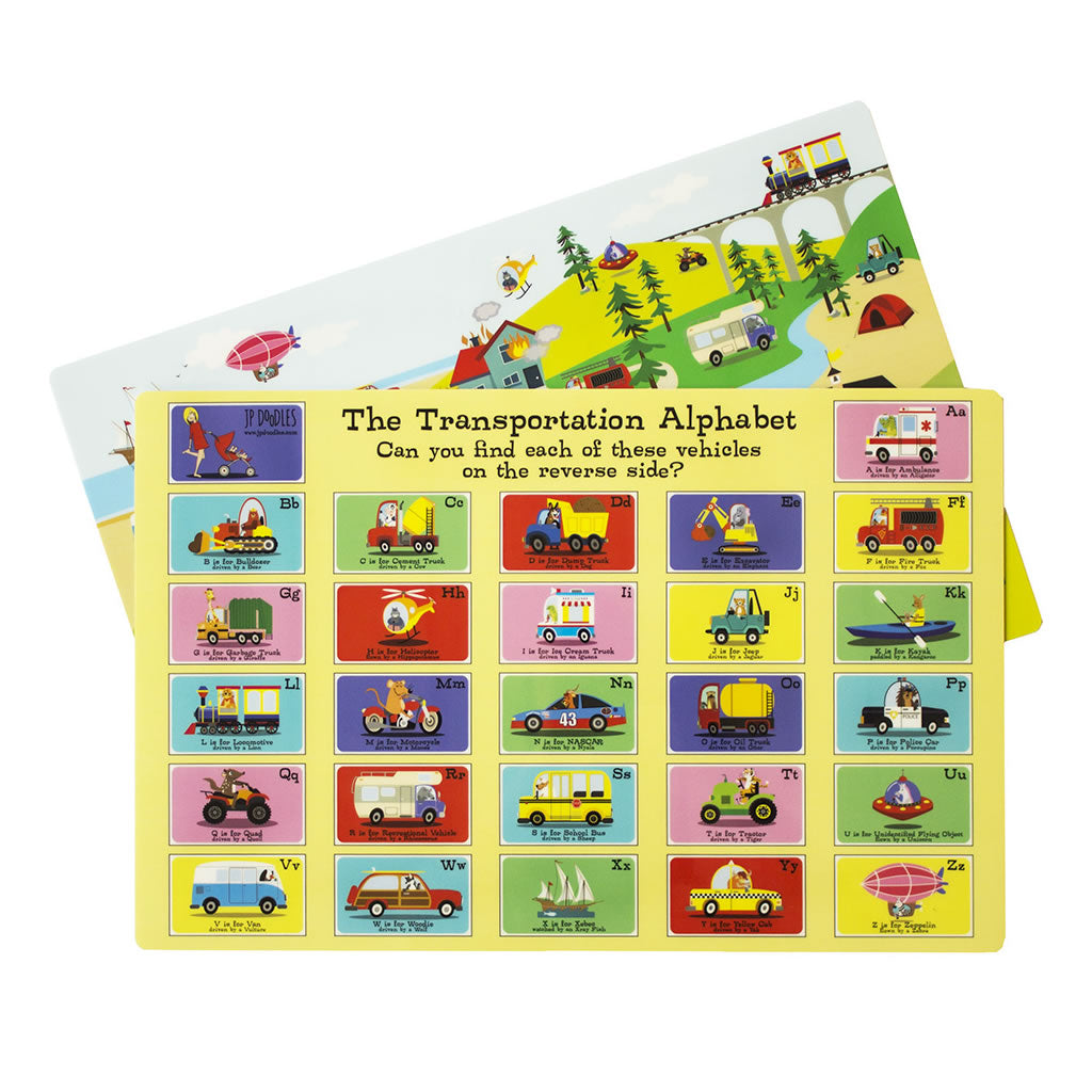 double sided transportation construction kids placemat jp doodles