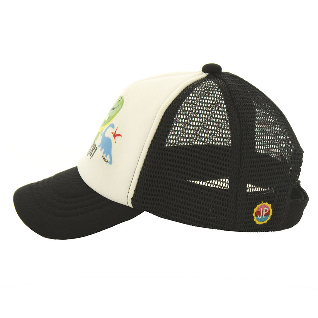 Dinosaur on Black Kids Trucker Hat Side View