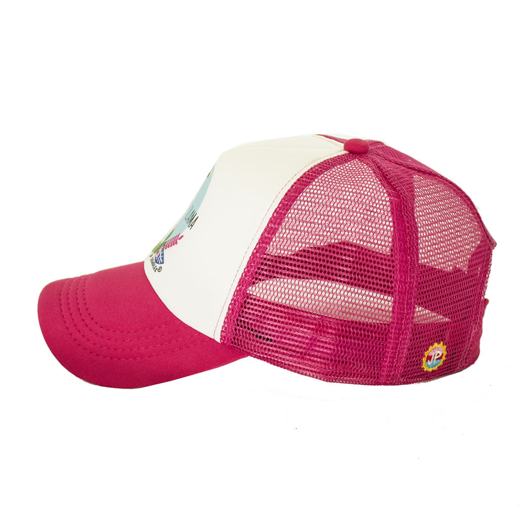 Hot Pink Mama Llama Womens Trucker Hats Side View