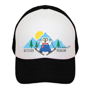 Altitude Problem Skier Bear Kids Trucker Hat