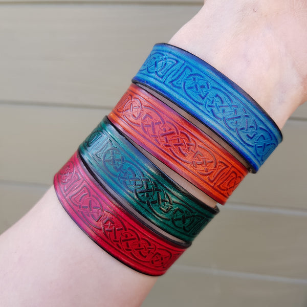Leather celtic wristband narrow in four colours. Red, Blue, Tan and Green