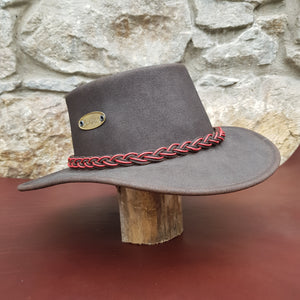 leather hat red band