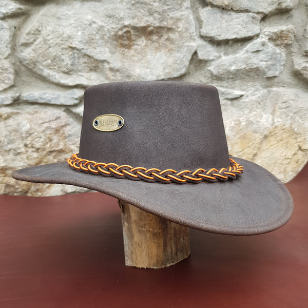 Leather hat orange band