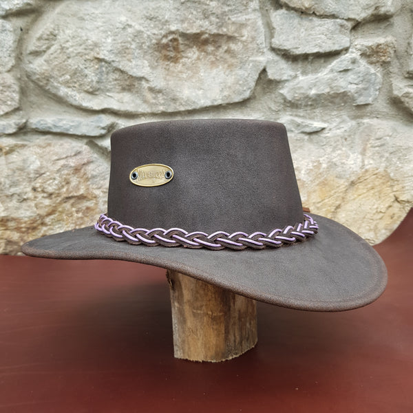 Tayburry leather hat Purple band