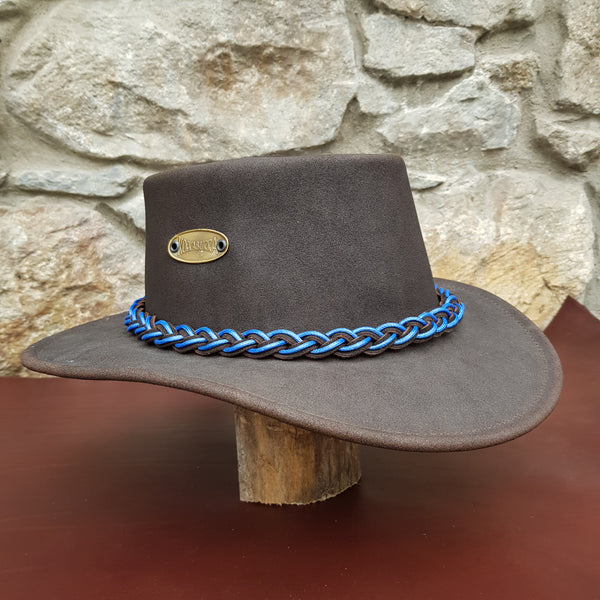 Tayburry leather hat blue band
