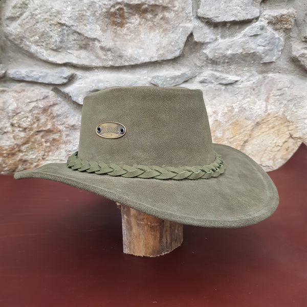 Green suede leather hat band