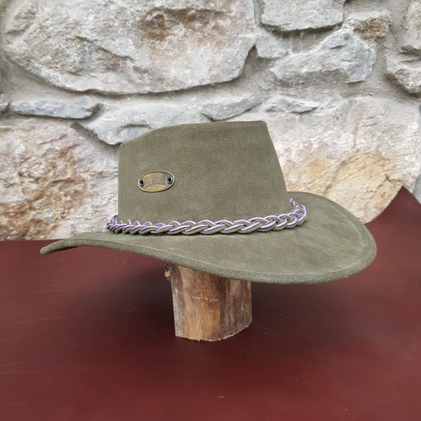 Green suede leather hat band purple