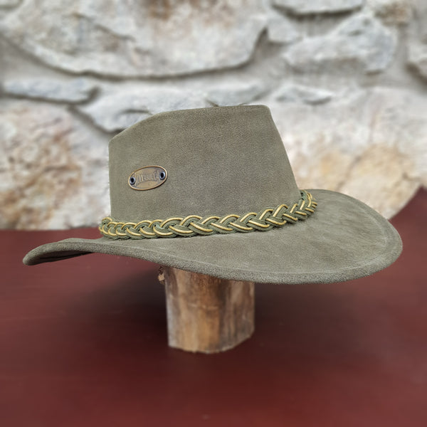 Green suede leather hat band mustard