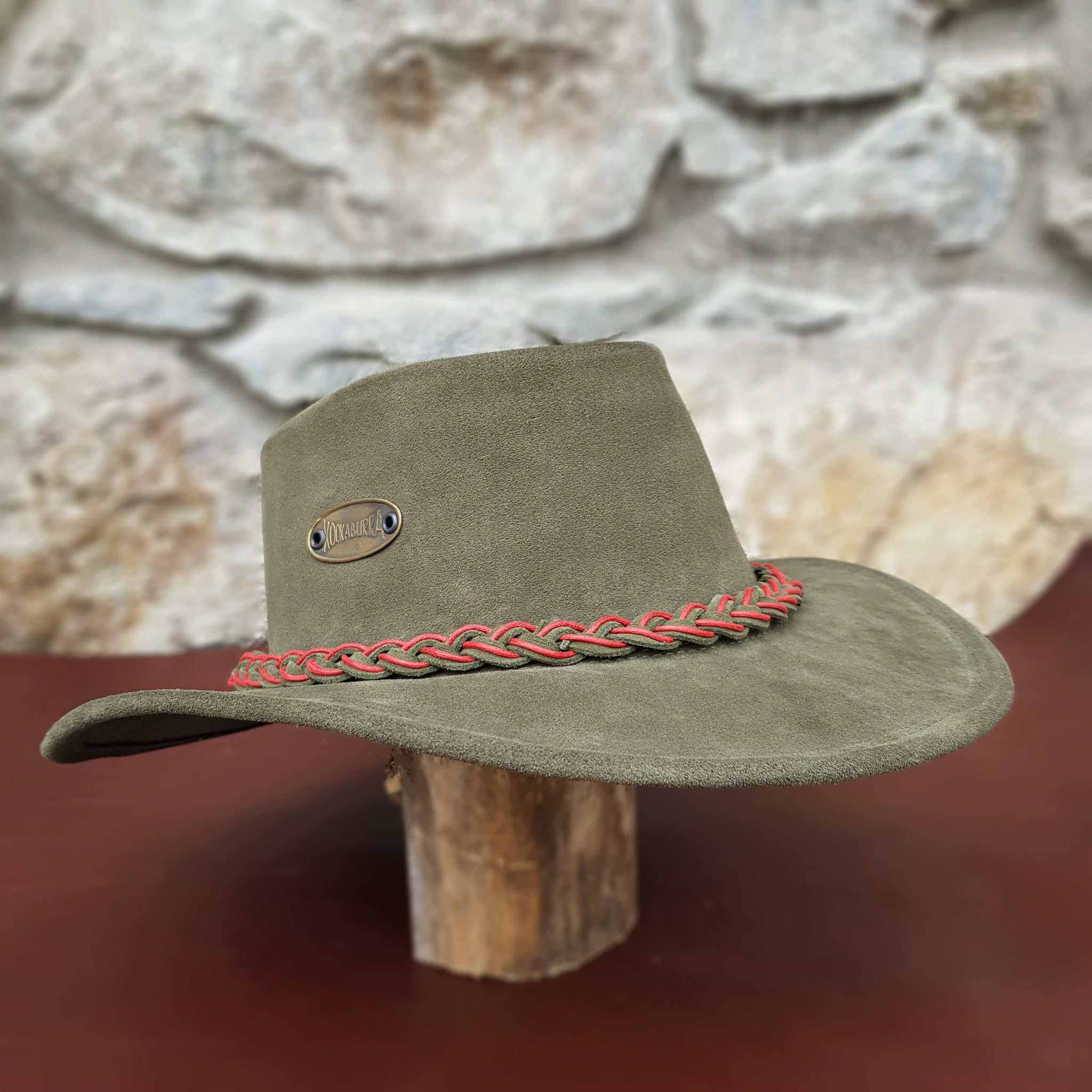 Green suede leather hat band red