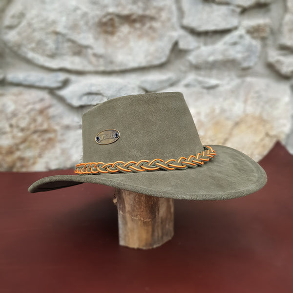 Green suede leather hat band orange