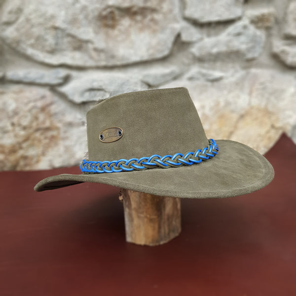 Green suede leather hat band blue