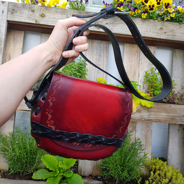 Red veg tan handbag