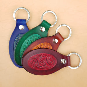 Lindisfarne spiral leather keyring