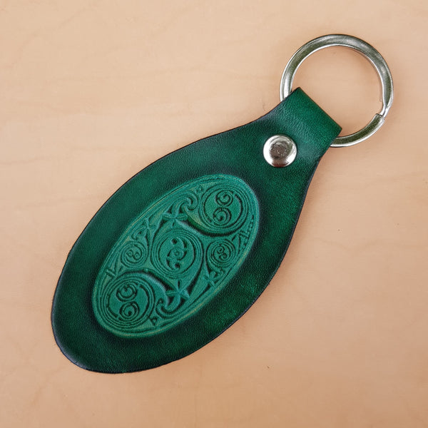 Leather Lindisfarne Spiral Keyring