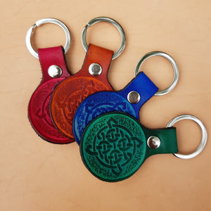 Leather keyring with celtic design