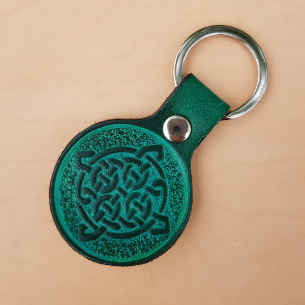 Green small leather keyring