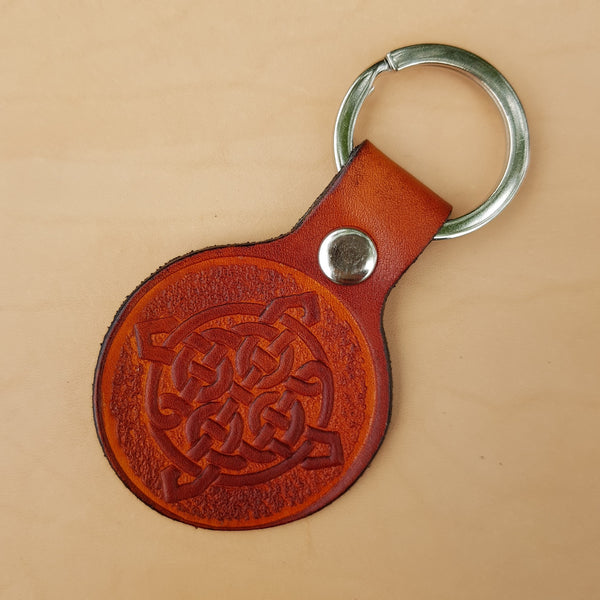 Tan coloured leather celtic keyring