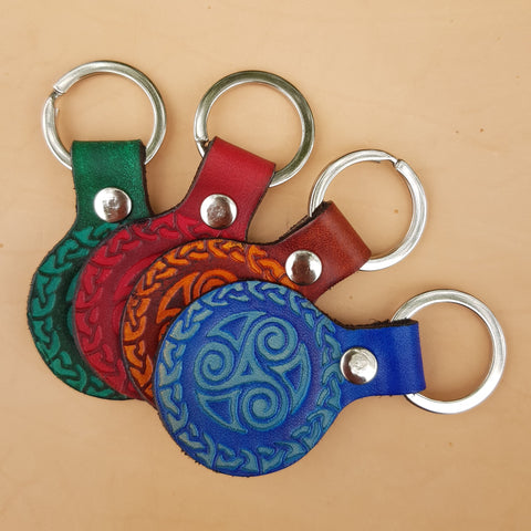 Leather triskele keyrings