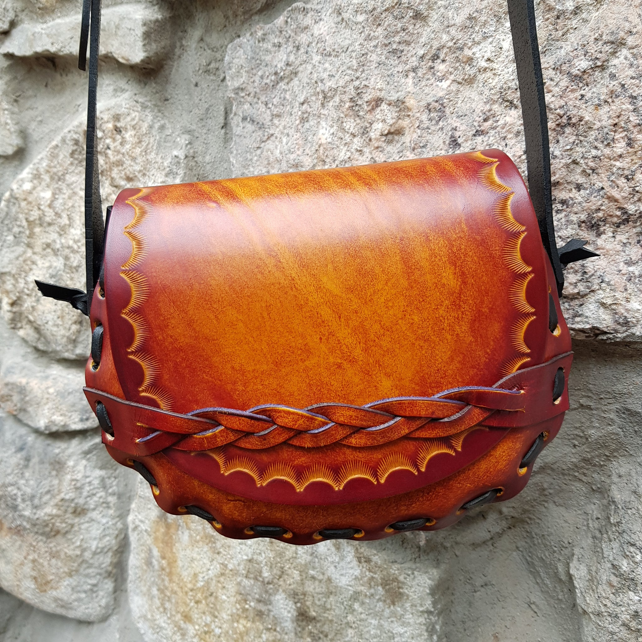 Tan handmade leather handbag