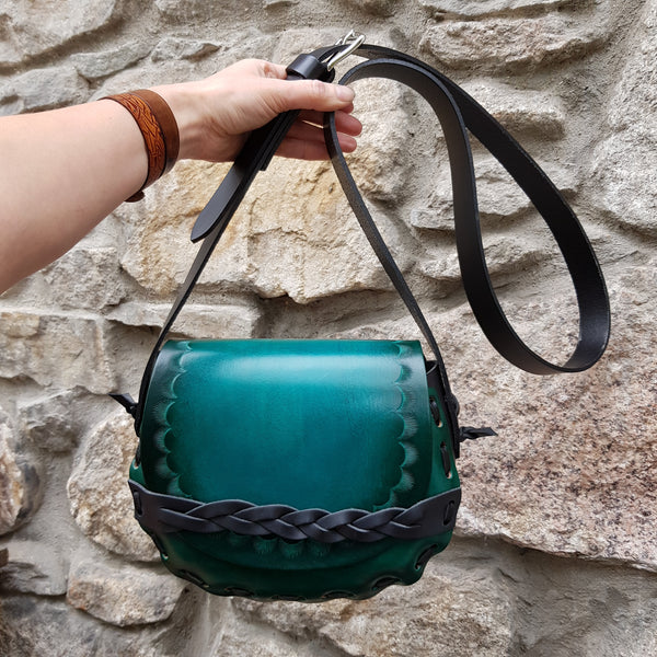 Handmade green handbag