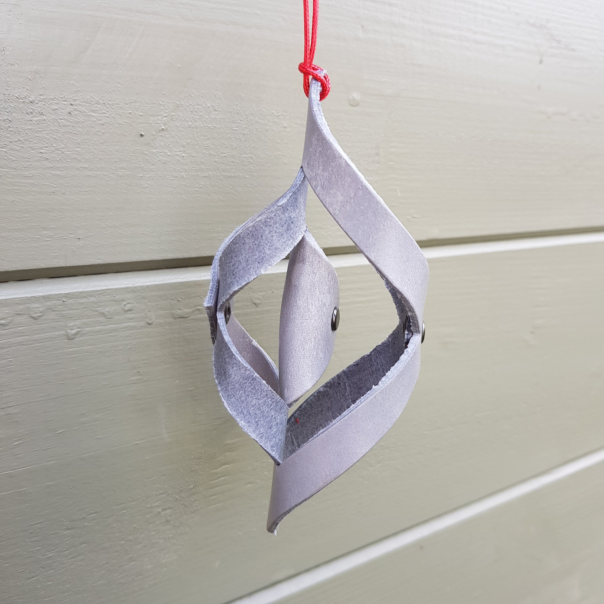 Silver Grey leather Christmas decoration twist