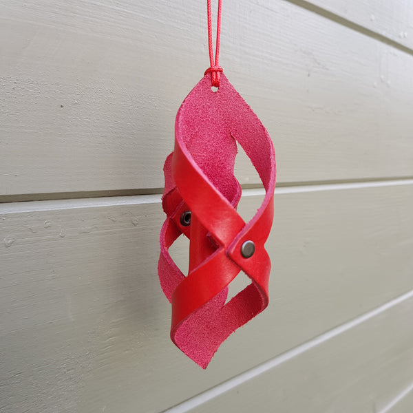 red leather twist decoration