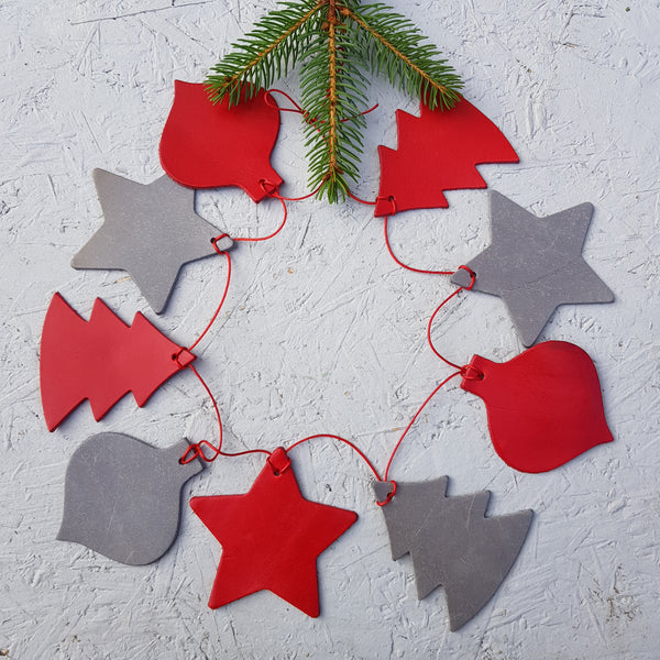 Red and Silver grey leather christmas bunting