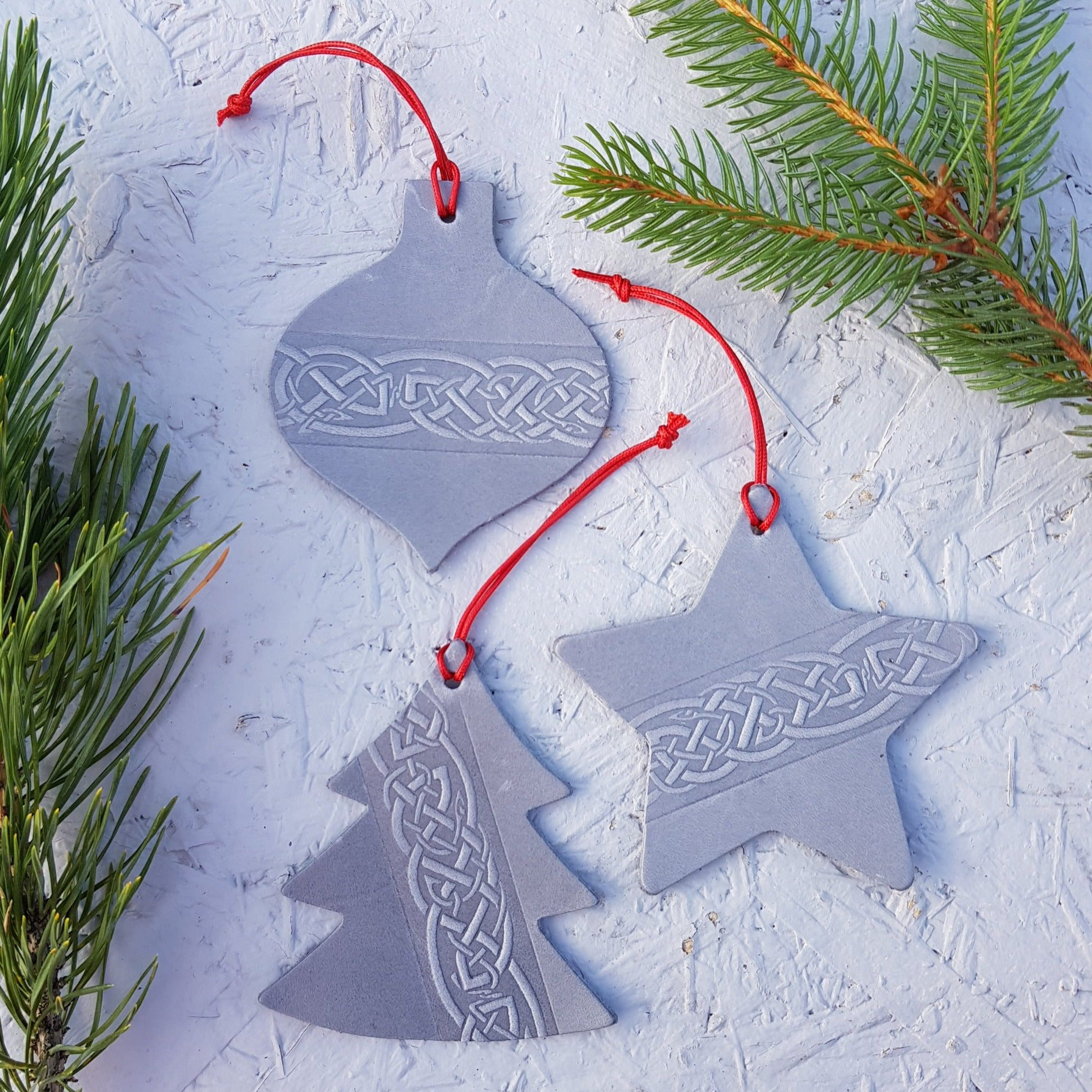 Silver Grey Leather Christmas Tree Decoration with Celtic Design - Set of Three