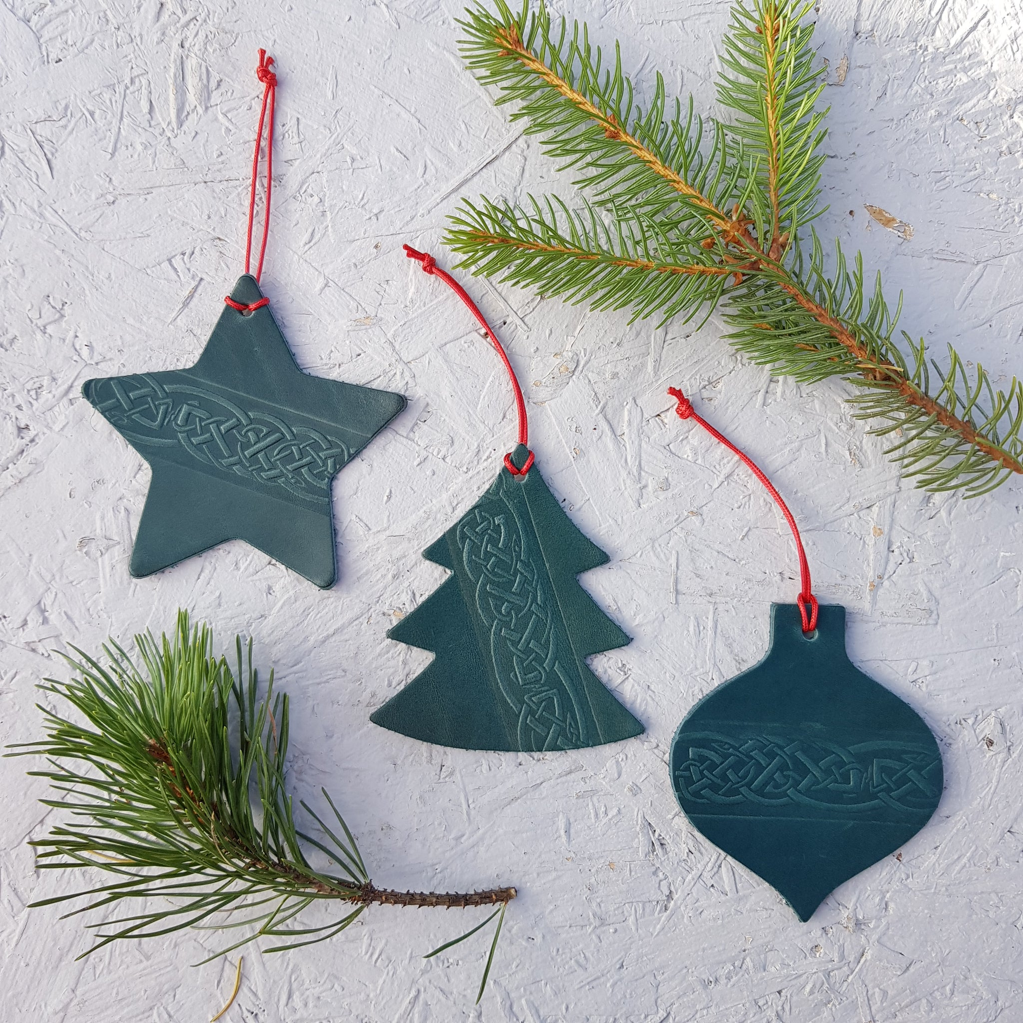 3 x green leather christmas tree decoration with celtic knot design