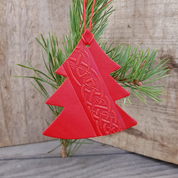 Red Leather Christmas Tree Decorations with Celtic Design - Set of Three