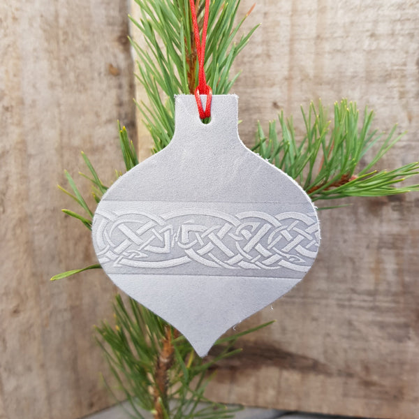 Silver grey leather christmas tree decoration in bauble shape with celtic knot design