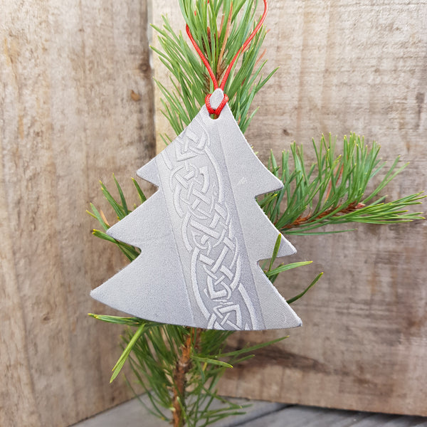 Silver grey leather christmas tree shaped decoration with celtic knot design