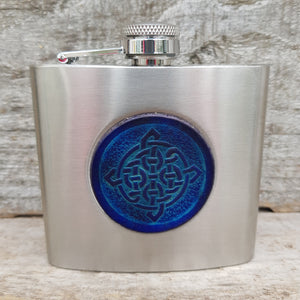 5oz stainless steel hip flask with blue celtic knot