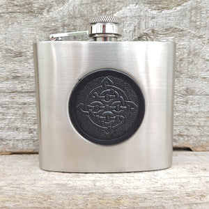 Stainless steel 5oz hipflask with black celtic knot