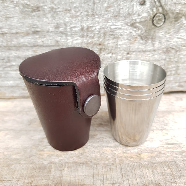 Whisky dram glass case in dark chocolate brown leather