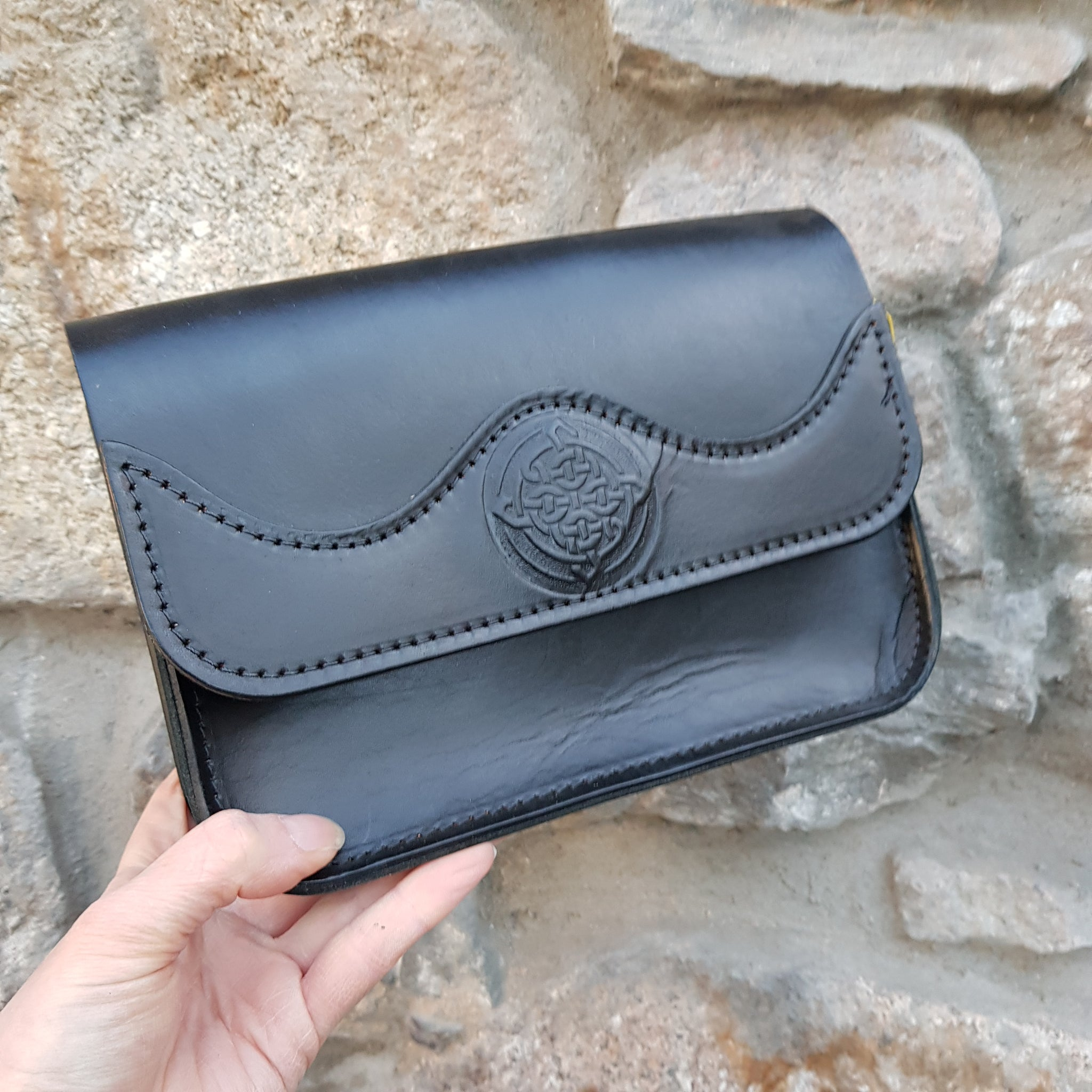 Black handbag with celtic knot