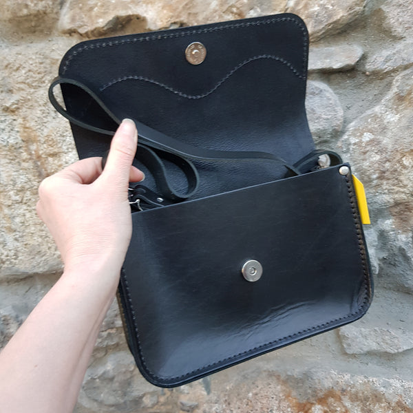 Black handbag open