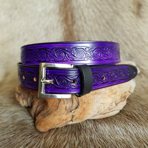 Purple leather Belt Spiral design