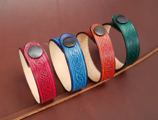Celtic leather wristband in four colours