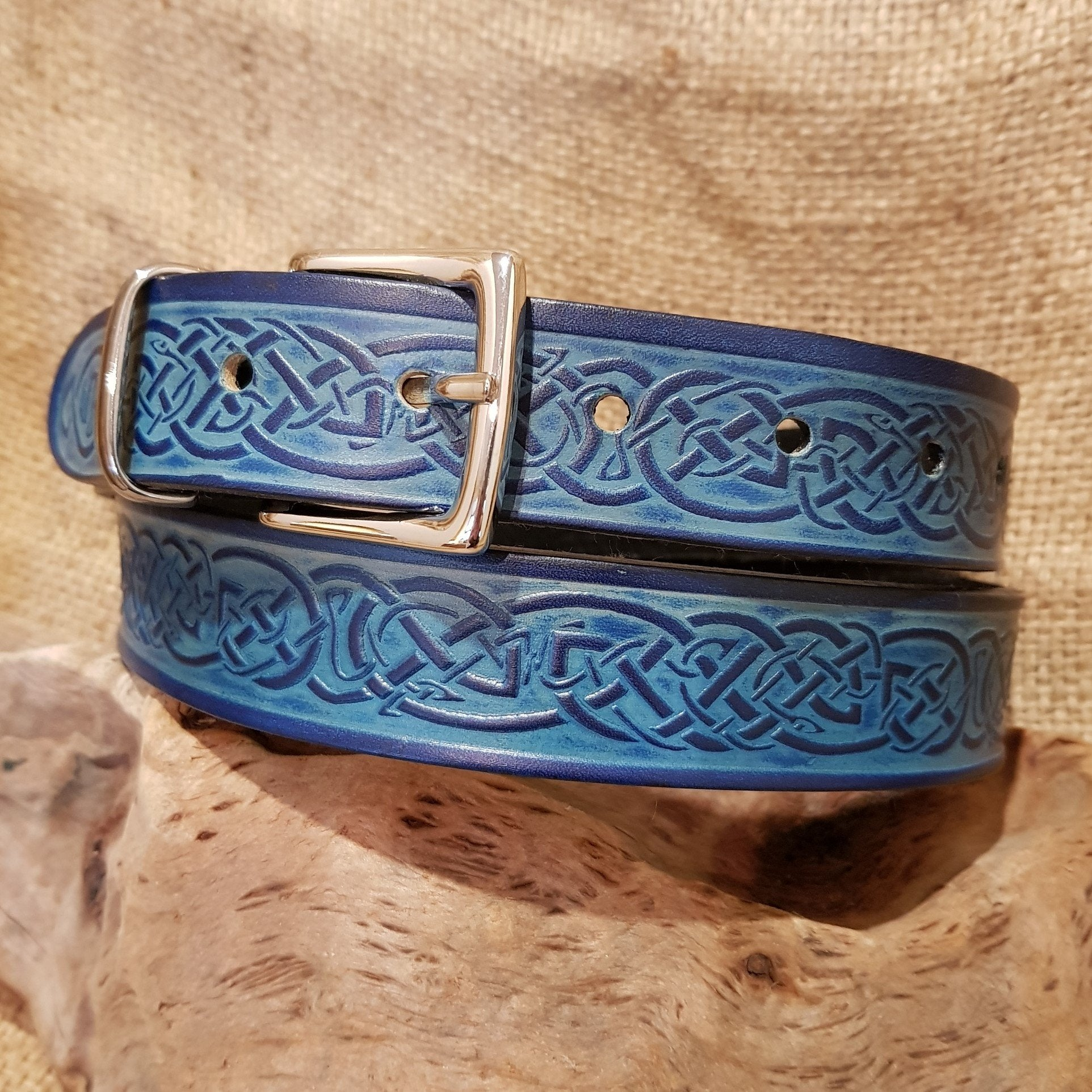 Narrow blue leather celtic belt
