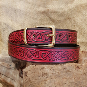 Narrow red leather celtic belt