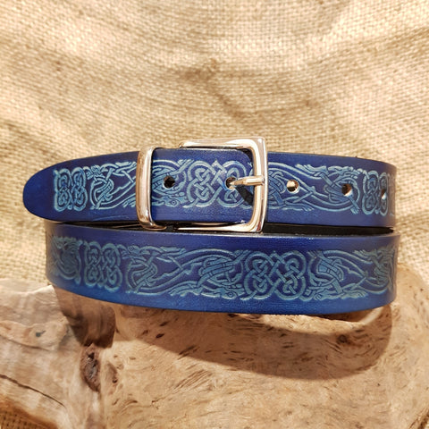 Narrow blue leather belt dragon celtic